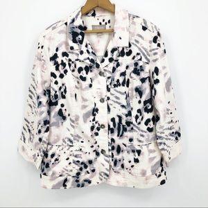 Chico's Twill Jacket Animal Print 3/4 Sleeve White